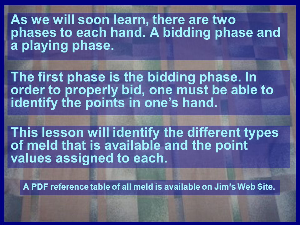 As we will soon learn, there are two phases to each hand
