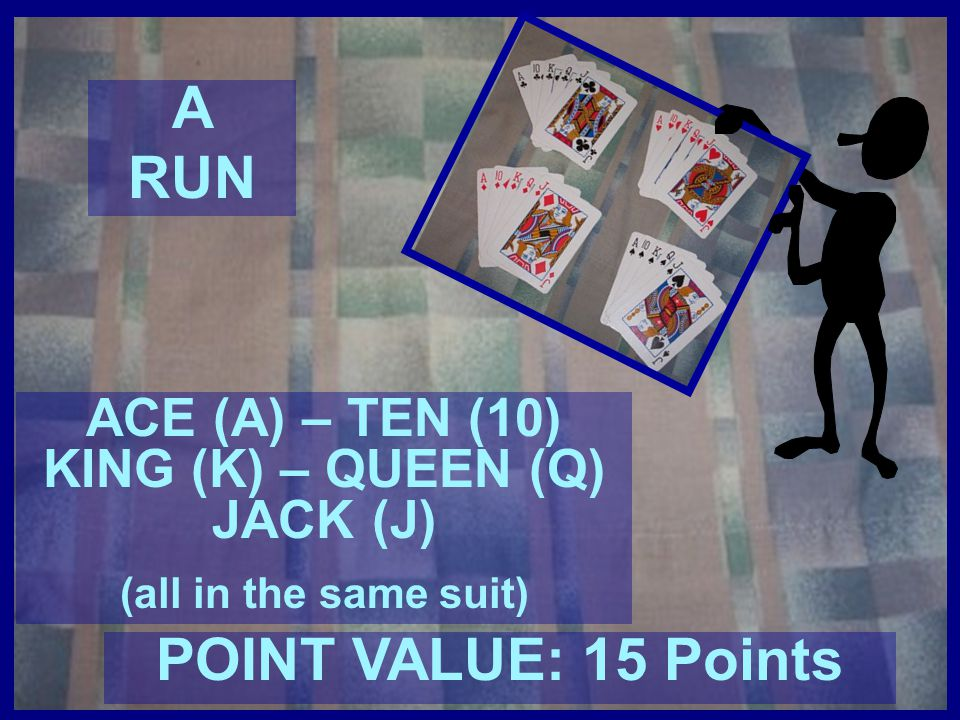 ACE (A) – TEN (10) KING (K) – QUEEN (Q) JACK (J)
