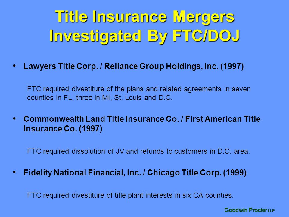 Title Insurance Mergers Investigated By FTC/DOJ