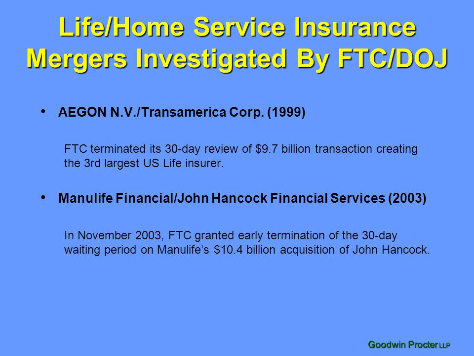 Life/Home Service Insurance Mergers Investigated By FTC/DOJ