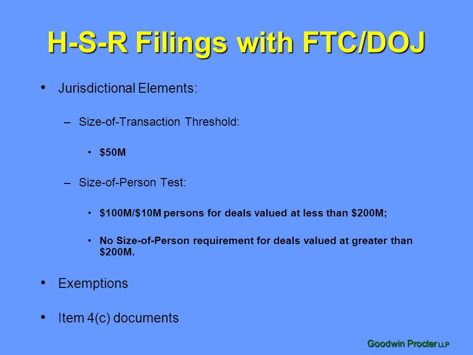 H-S-R Filings with FTC/DOJ