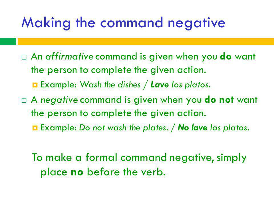 Making the command negative
