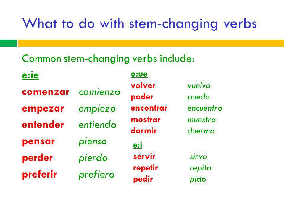 What to do with stem-changing verbs