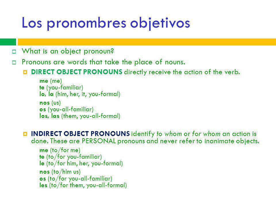 Los pronombres objetivos
