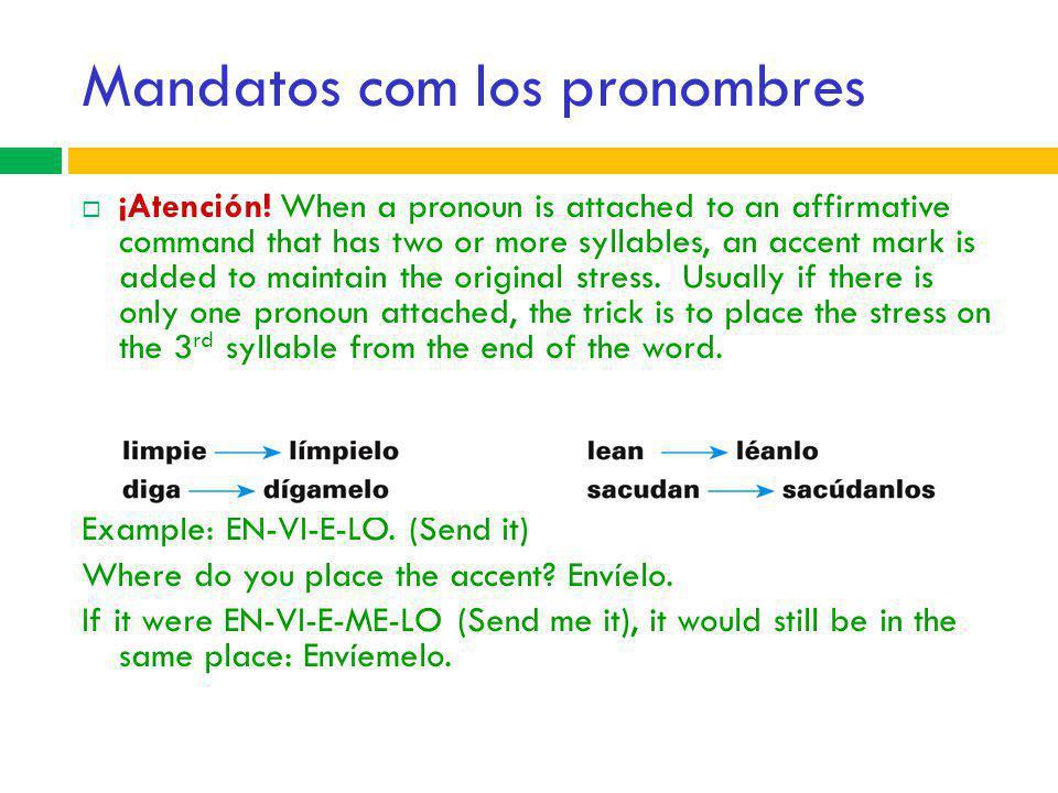 Mandatos com los pronombres