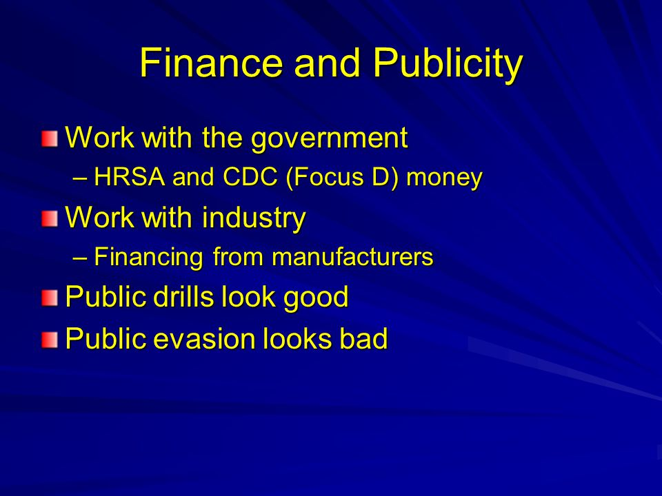 Finance and Publicity Work with the government Work with industry