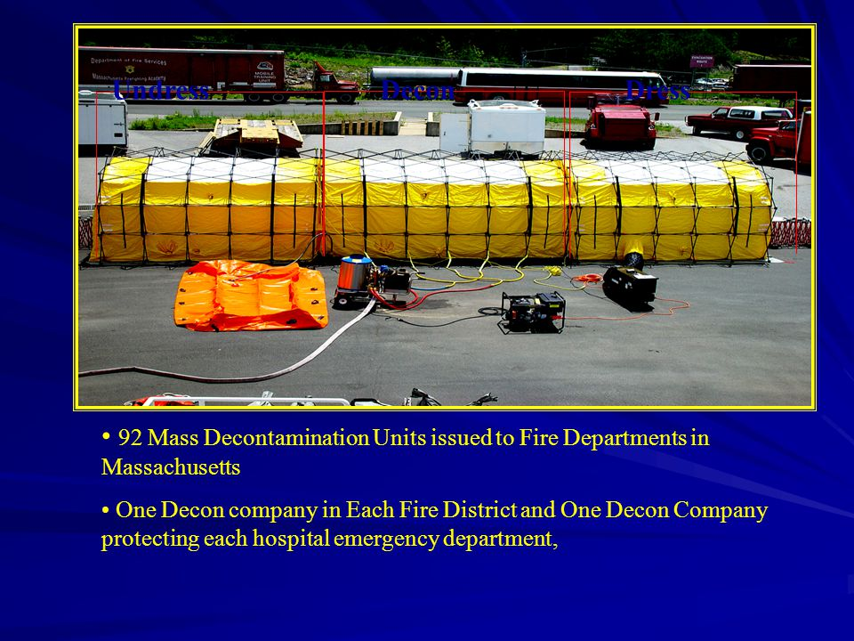 Undress Decon. Dress. 92 Mass Decontamination Units issued to Fire Departments in Massachusetts.
