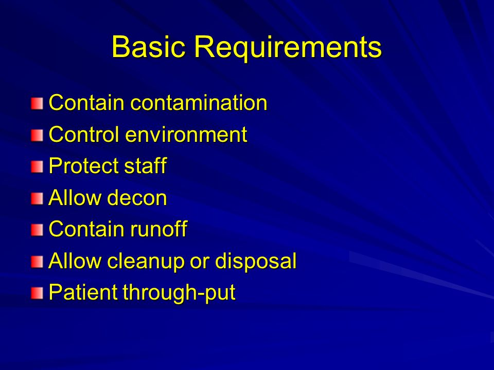 Basic Requirements Contain contamination Control environment