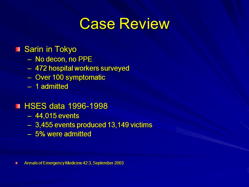 Case Review Sarin in Tokyo HSES data 1996-1998 No decon, no PPE