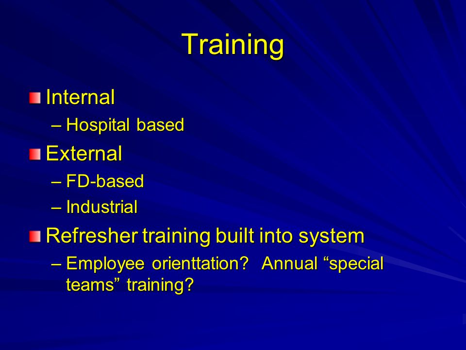 Training Internal External Refresher training built into system