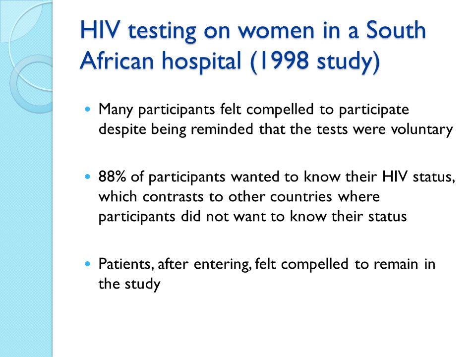HIV testing on women in a South African hospital (1998 study)