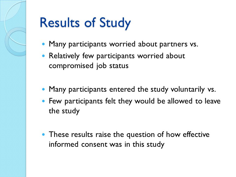 Results of Study Many participants worried about partners vs.
