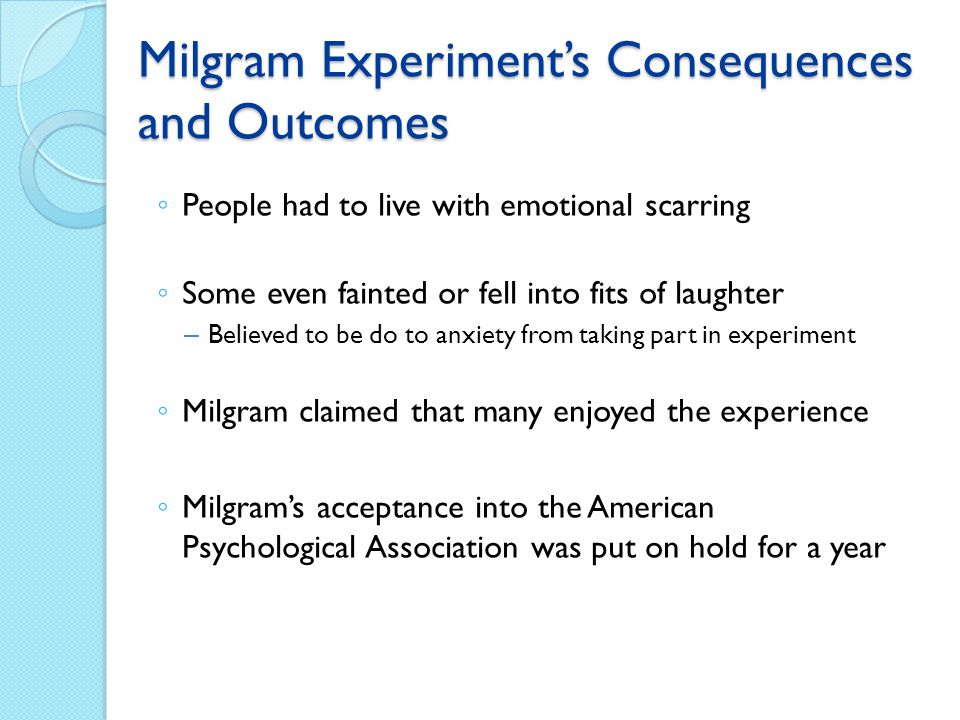 Milgram Experiment's Consequences and Outcomes