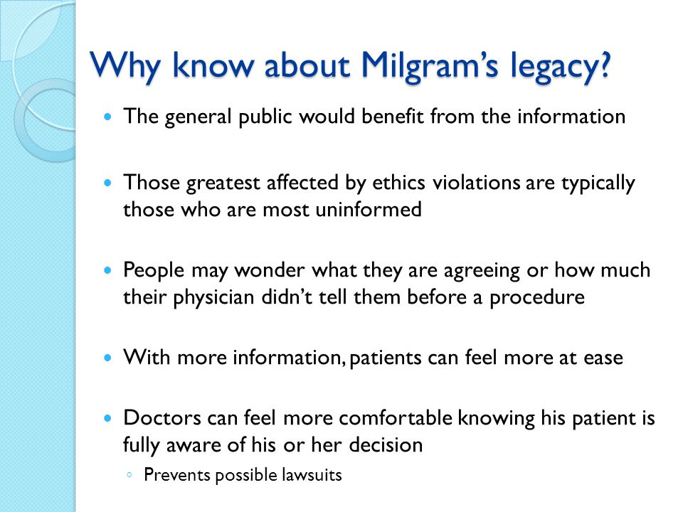 Why know about Milgram's legacy