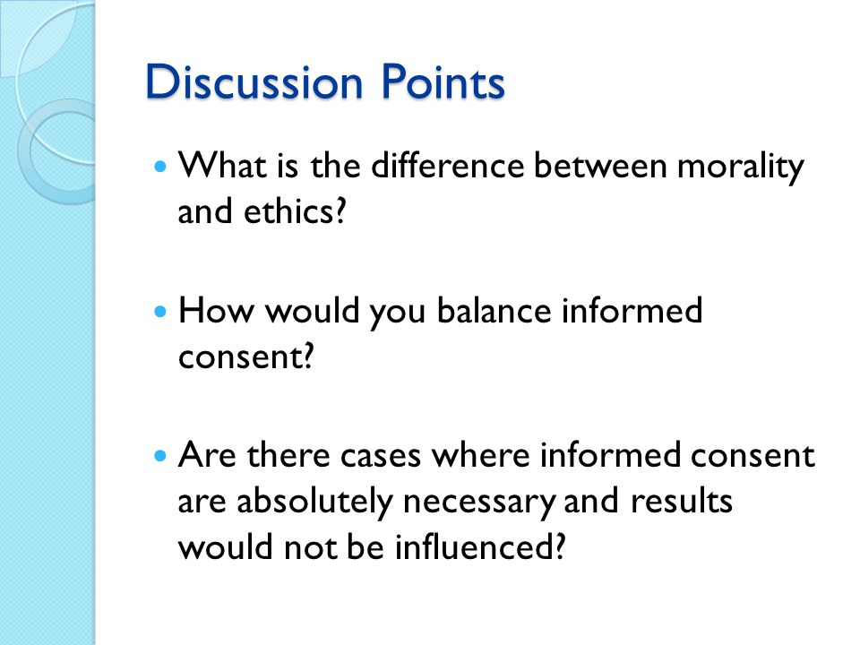 Discussion Points What is the difference between morality and ethics