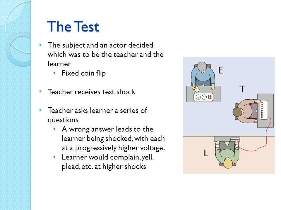 The Test The subject and an actor decided which was to be the teacher and the learner. Fixed coin flip.