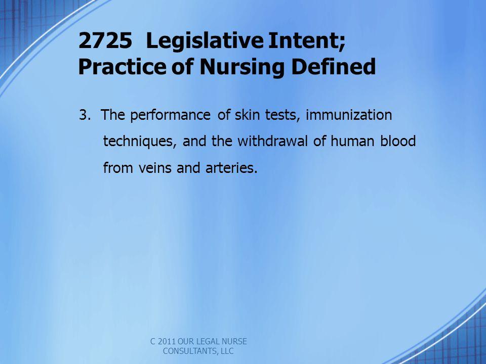 2725 Legislative Intent; Practice of Nursing Defined