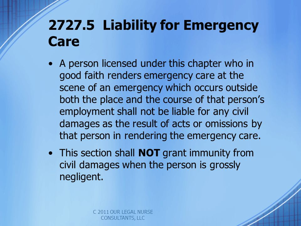 2727.5 Liability for Emergency Care
