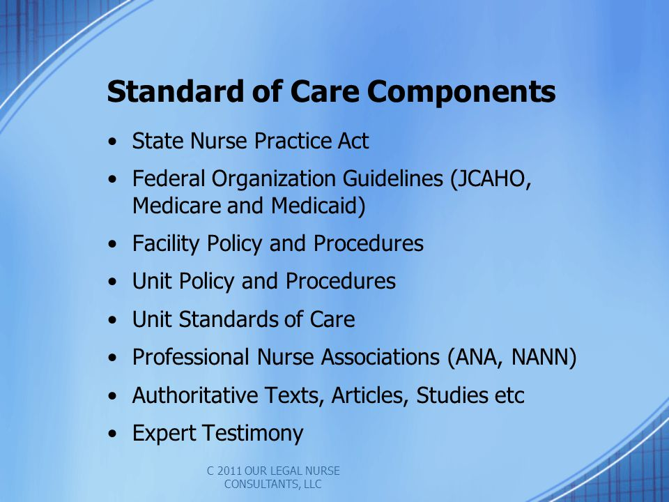 Standard of Care Components