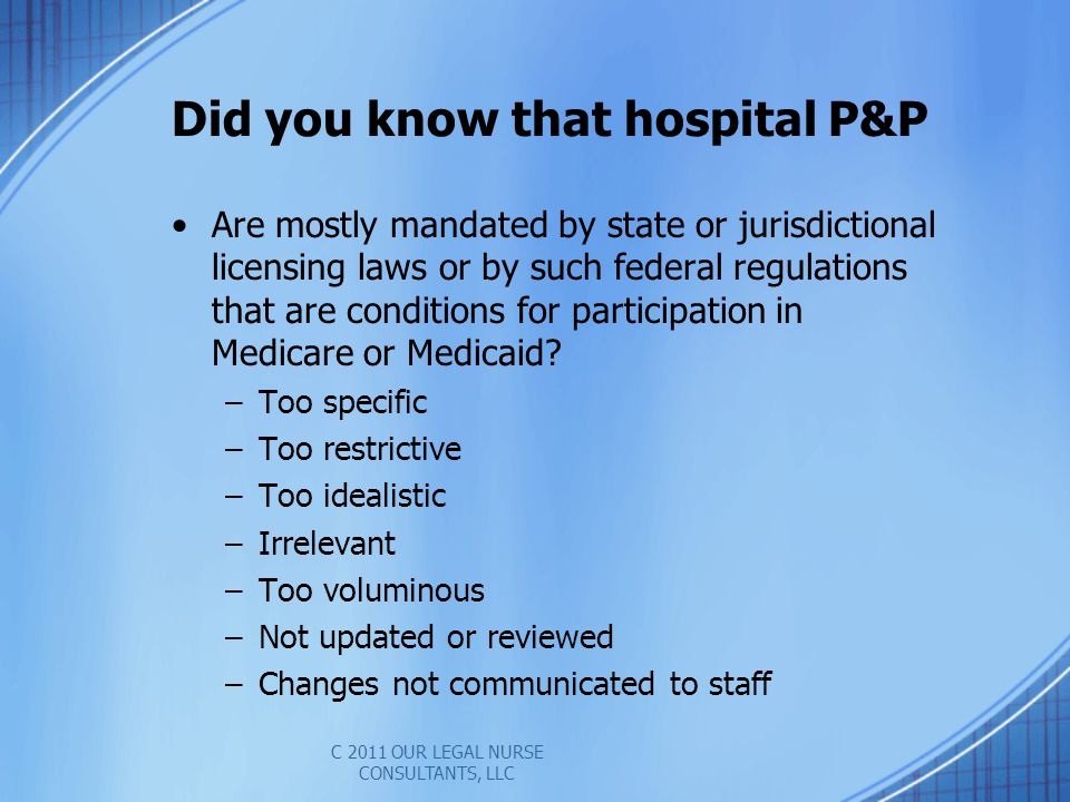 Did you know that hospital P&P