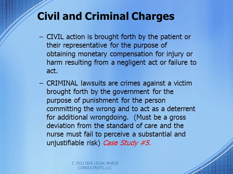 Civil and Criminal Charges