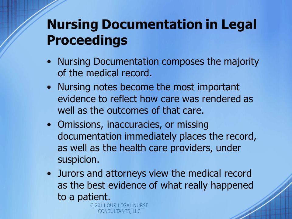 Nursing Documentation in Legal Proceedings