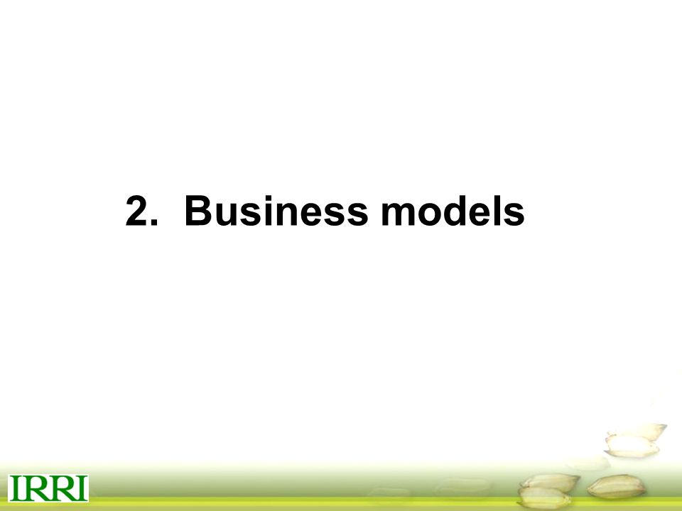 2. Business models