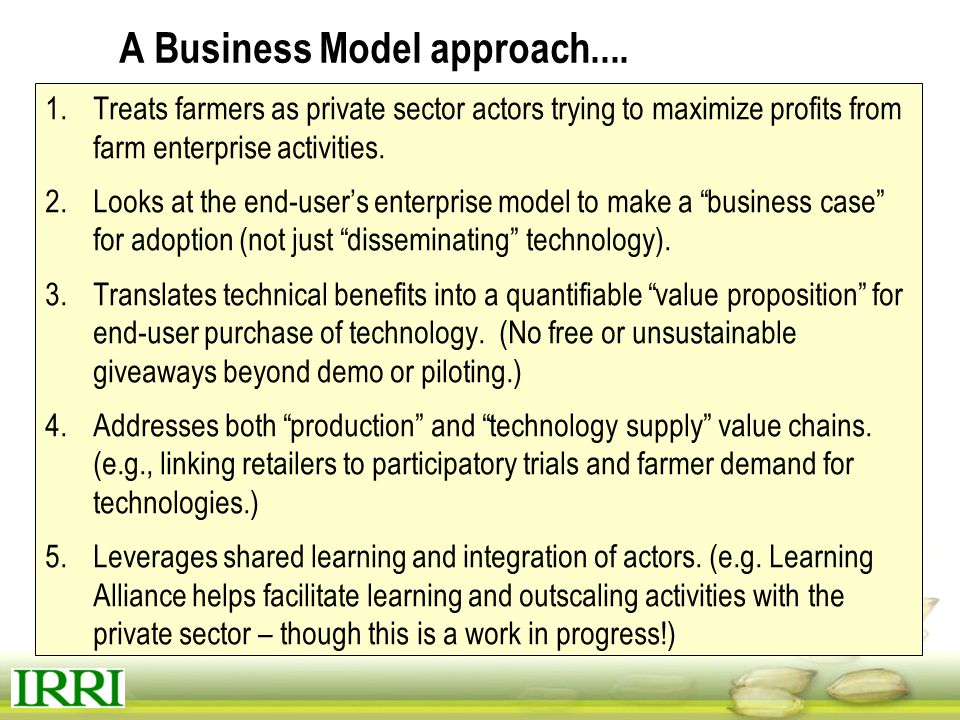 A Business Model approach....