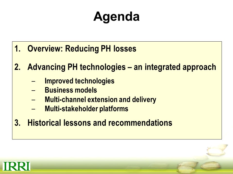 Agenda Overview: Reducing PH losses