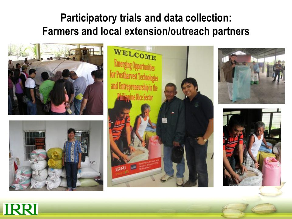Participatory trials and data collection: Farmers and local extension/outreach partners