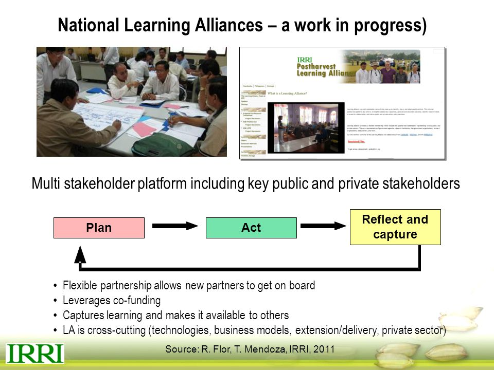 National Learning Alliances – a work in progress)