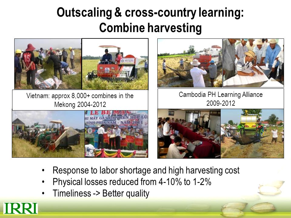 Outscaling & cross-country learning: Combine harvesting