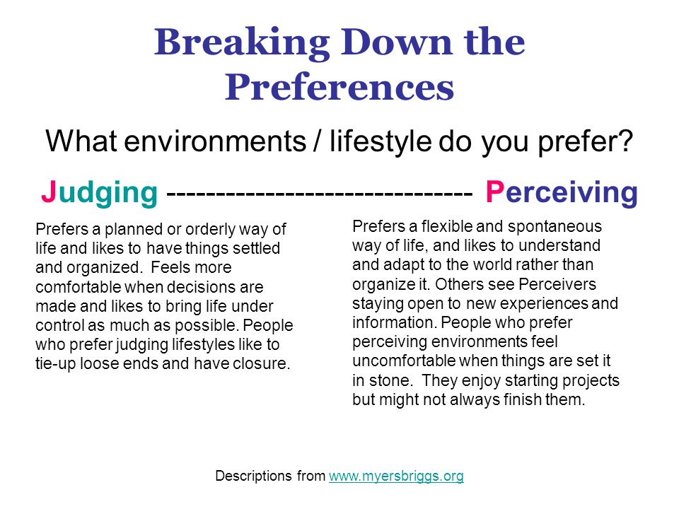 Breaking Down the Preferences