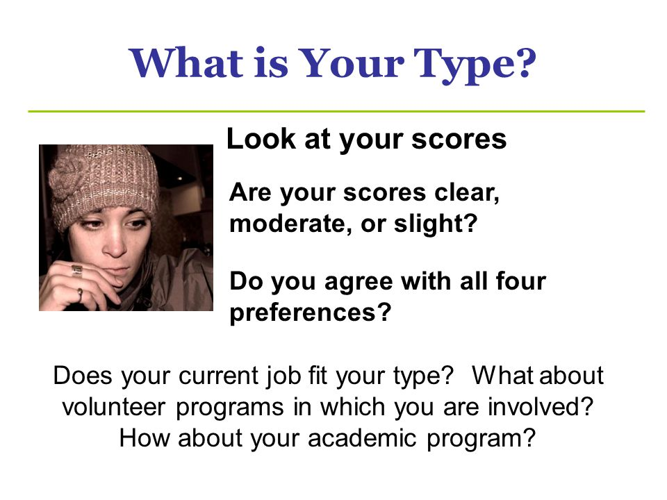 What is Your Type Look at your scores