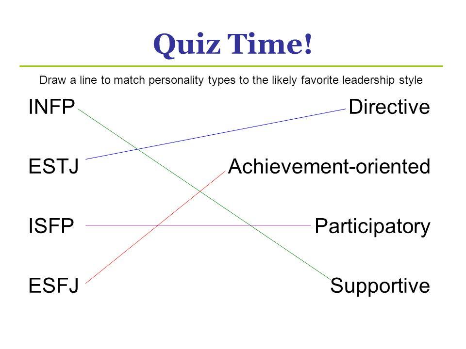 Quiz Time! INFP ESTJ ISFP ESFJ Directive Achievement-oriented