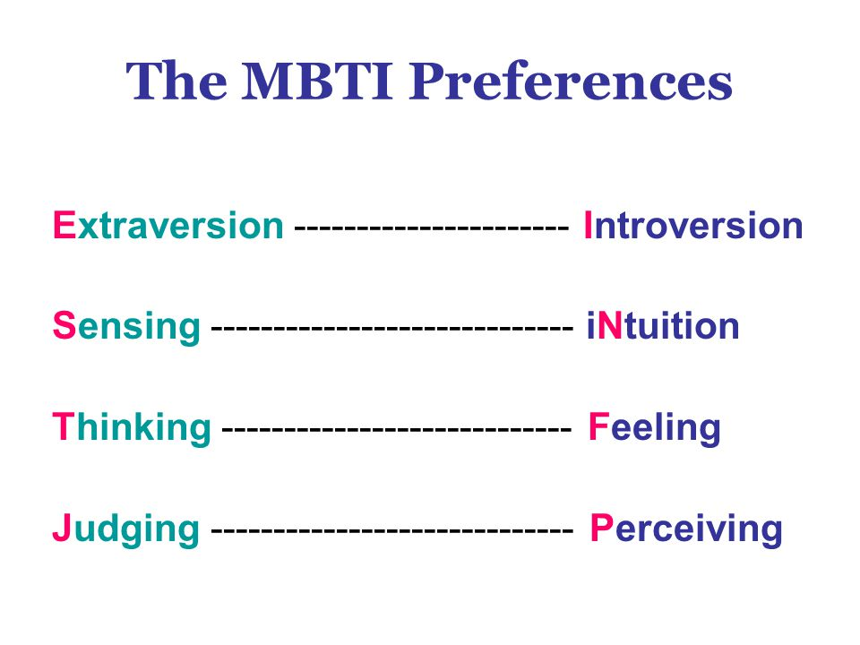 The MBTI Preferences Extraversion ---------------------- Introversion
