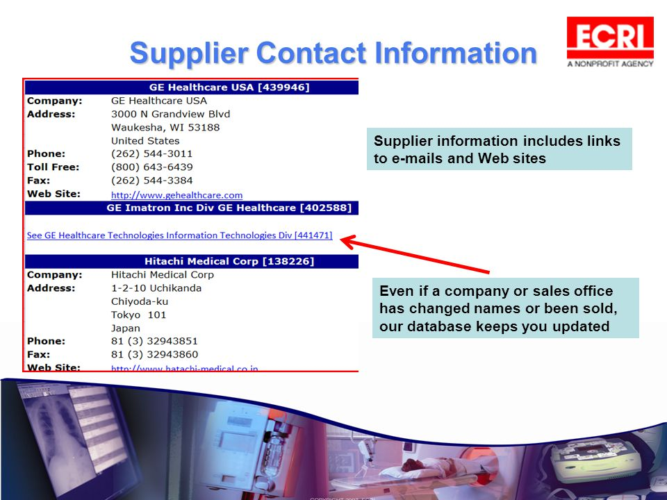 Supplier Contact Information Supplier information includes links to e-mails and Web sites.
