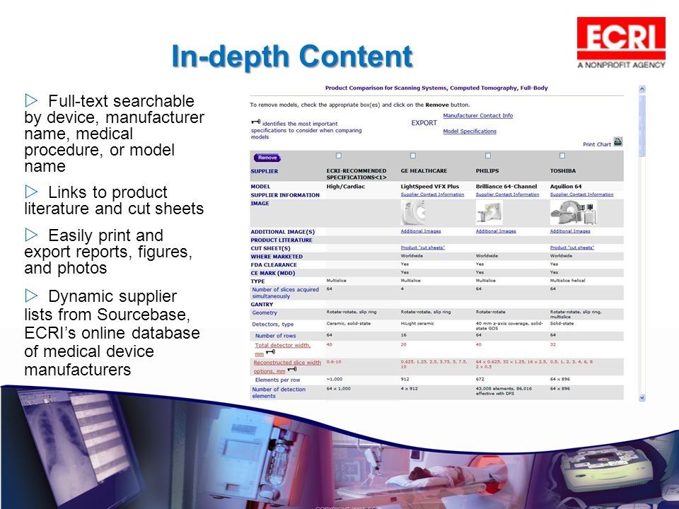 In-depth Content Full-text searchable by device, manufacturer name, medical procedure, or model name.