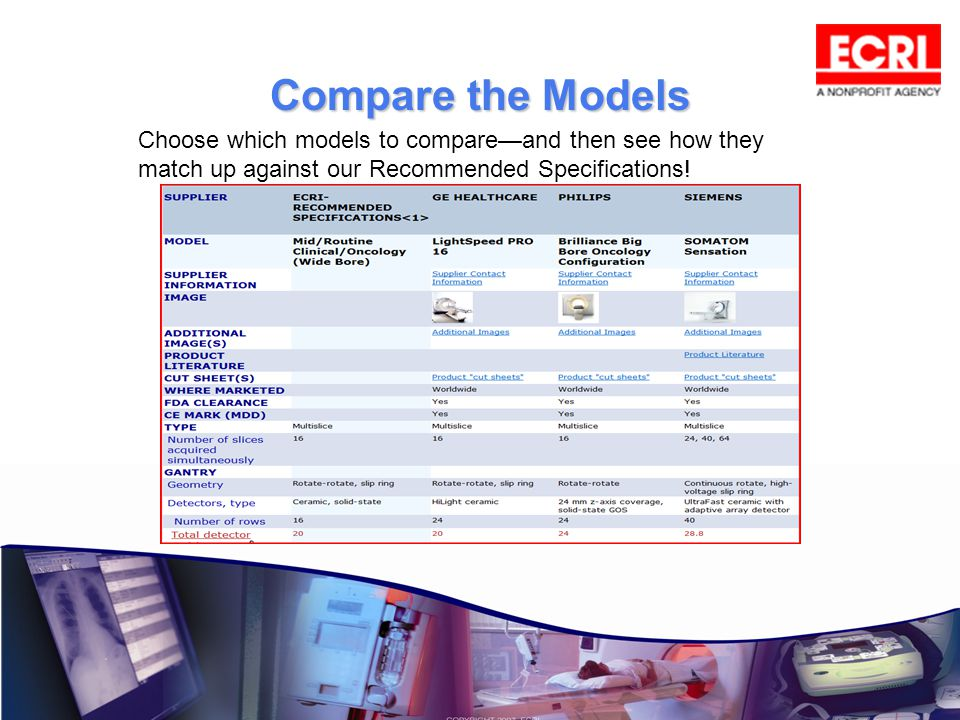 Compare the Models Choose which models to compare—and then see how they match up against our Recommended Specifications!
