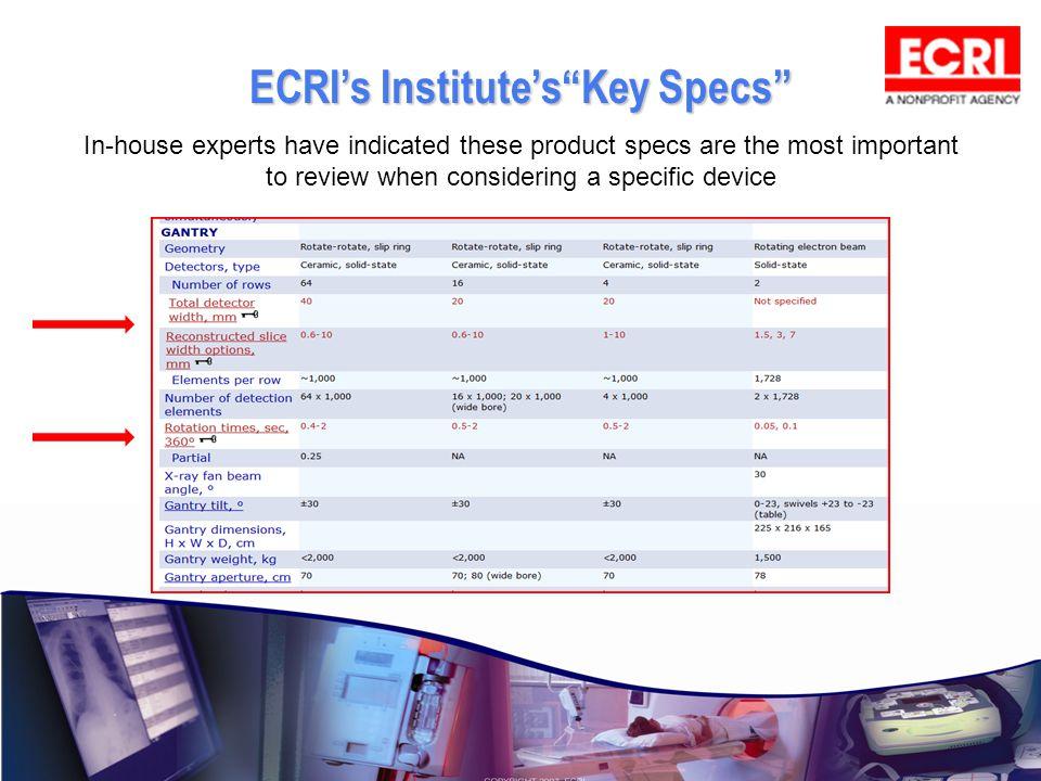 ECRI's Institute's Key Specs