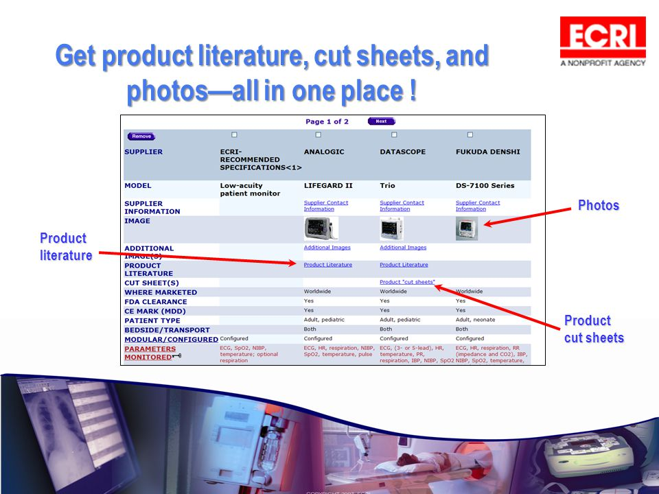 Get product literature, cut sheets, and photos—all in one place !