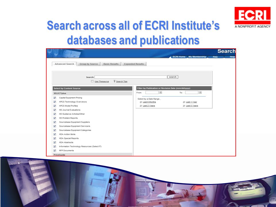 Search across all of ECRI Institute's databases and publications