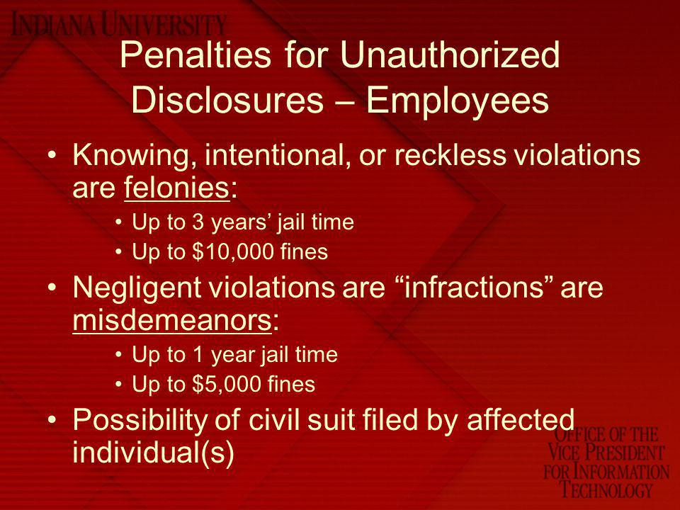 Penalties for Unauthorized Disclosures – Employees
