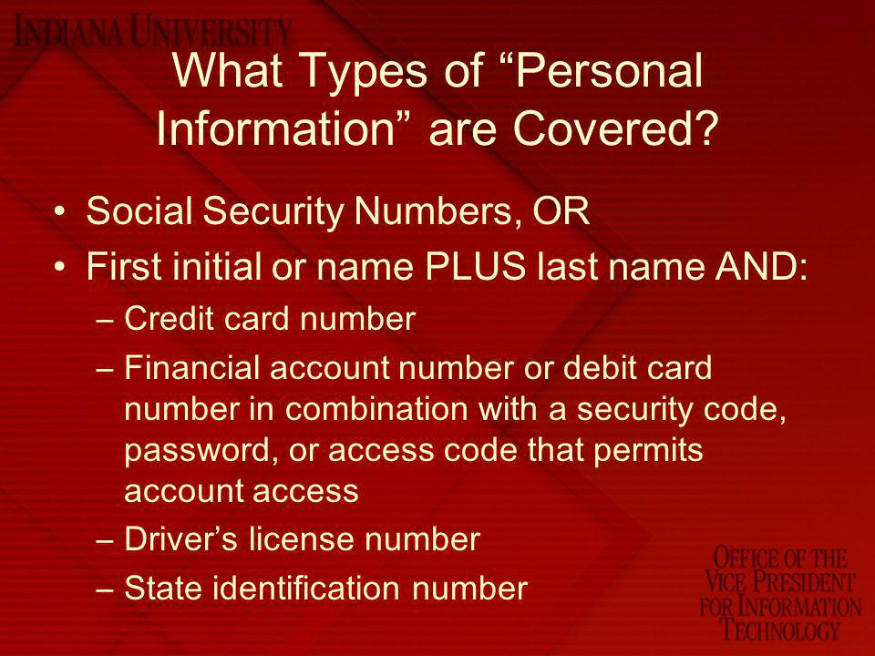 What Types of Personal Information are Covered