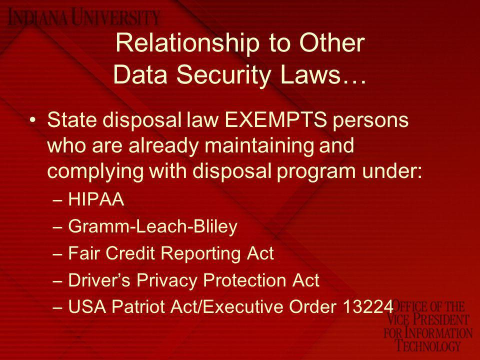 Relationship to Other Data Security Laws…
