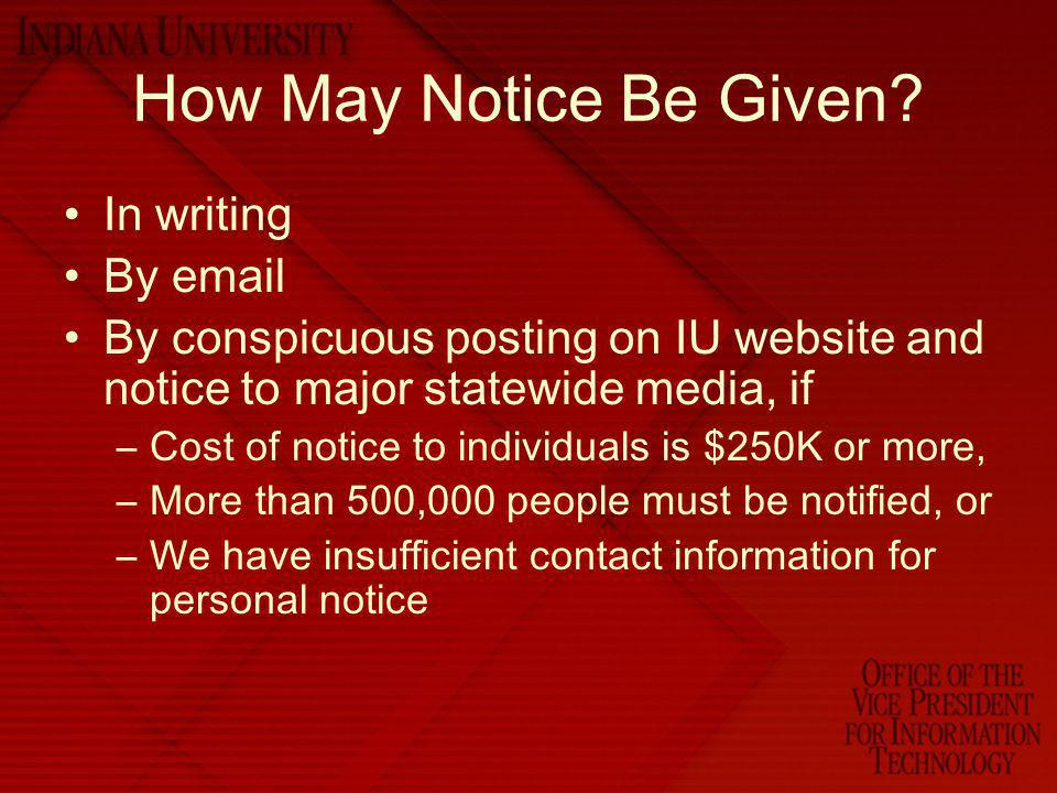 How May Notice Be Given In writing By email