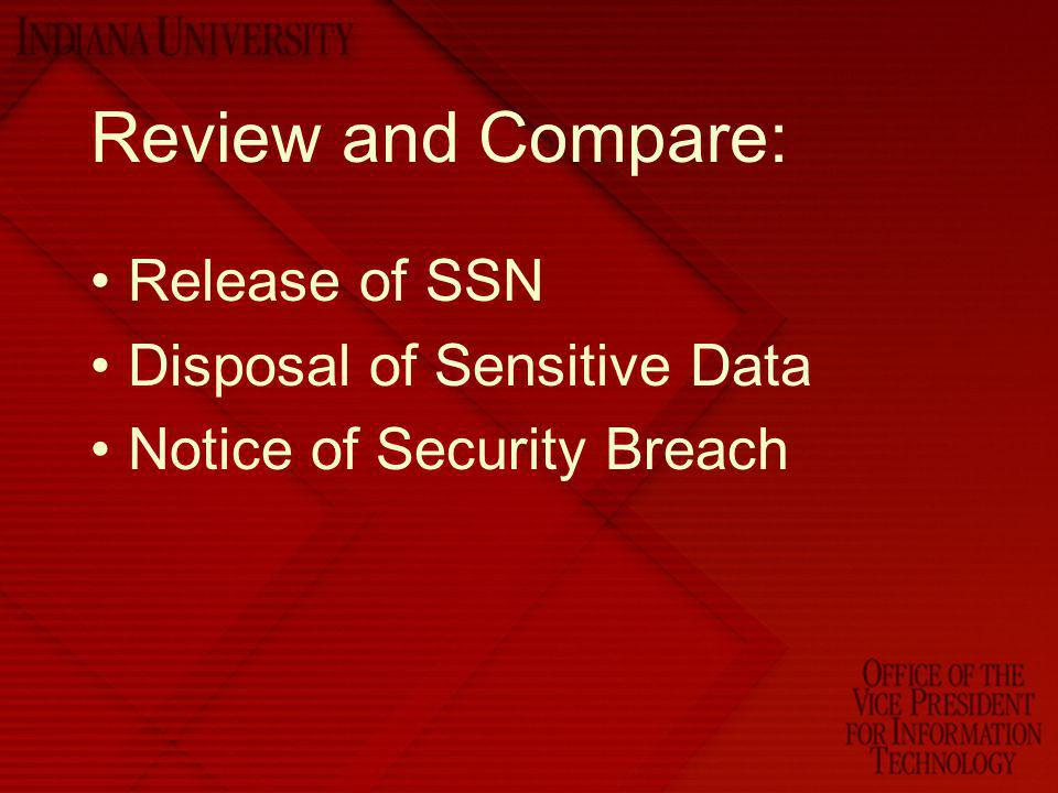 Review and Compare: Release of SSN Disposal of Sensitive Data