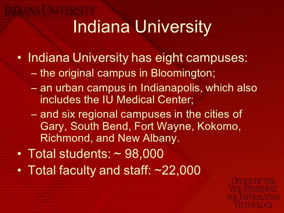 Indiana University Indiana University has eight campuses: