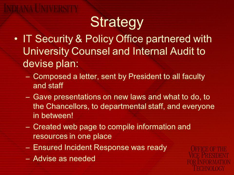 Strategy IT Security & Policy Office partnered with University Counsel and Internal Audit to devise plan: