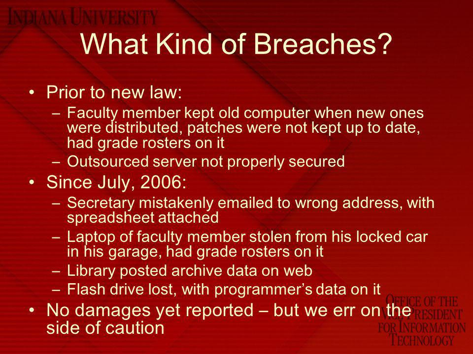 What Kind of Breaches Prior to new law: Since July, 2006: